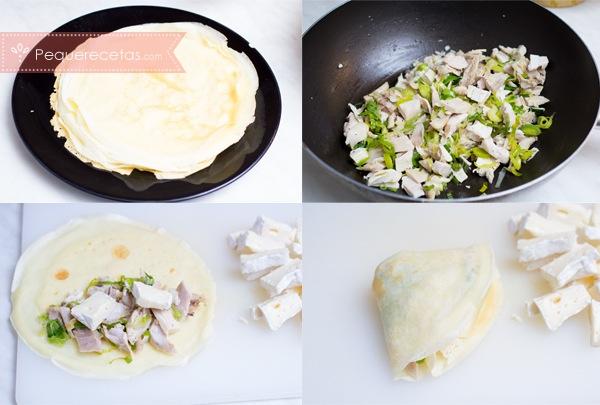 Crepes de pollo, receta fácil