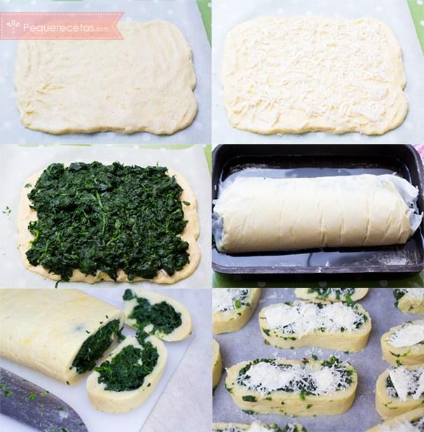 Rollo de patatas y espinacas