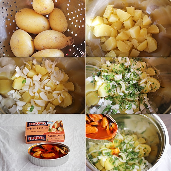 Patatas aliñadas con mejillones escabeche pasos