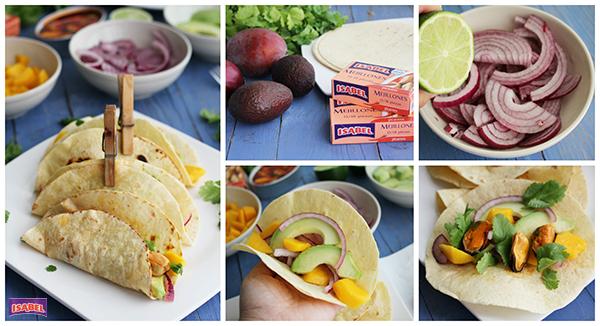 Tacos con mejillones pasos