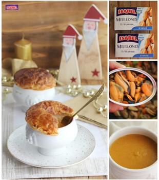 Crema mejillones y hojaldre Collage