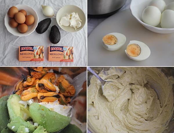 Huevos rellenos mejillones y aguacate pasos