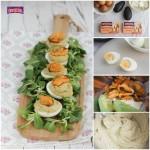 Huevos rellenos con crema de mejillones y aguacate