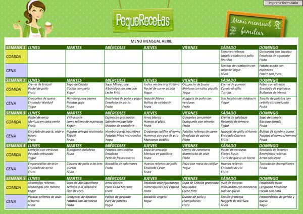 menu semanal facil