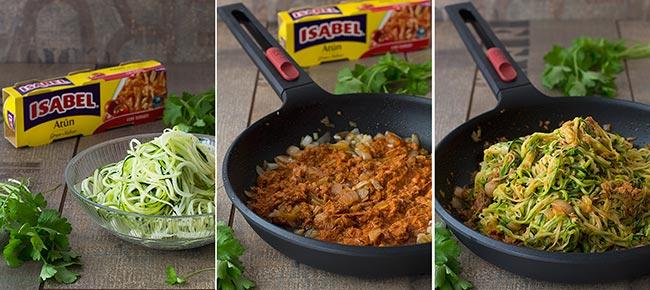 paso a paso espaguetis de calabacín con tomate