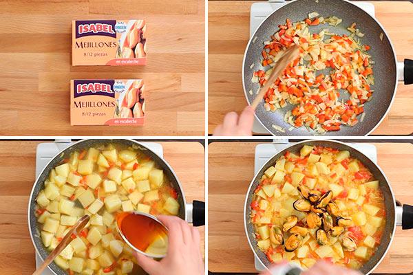 Guiso de patatas con mejillones en escabeche
