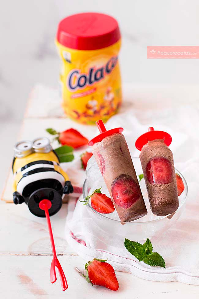helado chocolate fresas cola cao