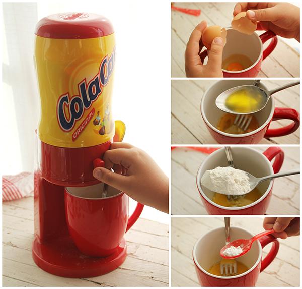 Mug Cake de Cola Cao pasos