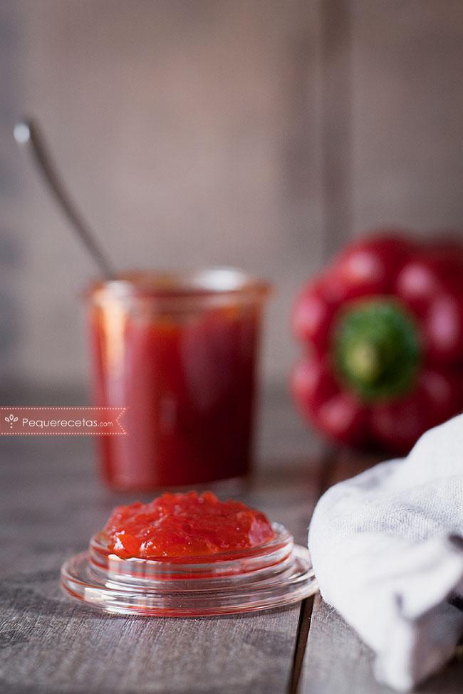 textura mermelada de pimientos rojos