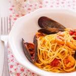 Espaguetis a la marinera con marisco o «Frutti di Mare»