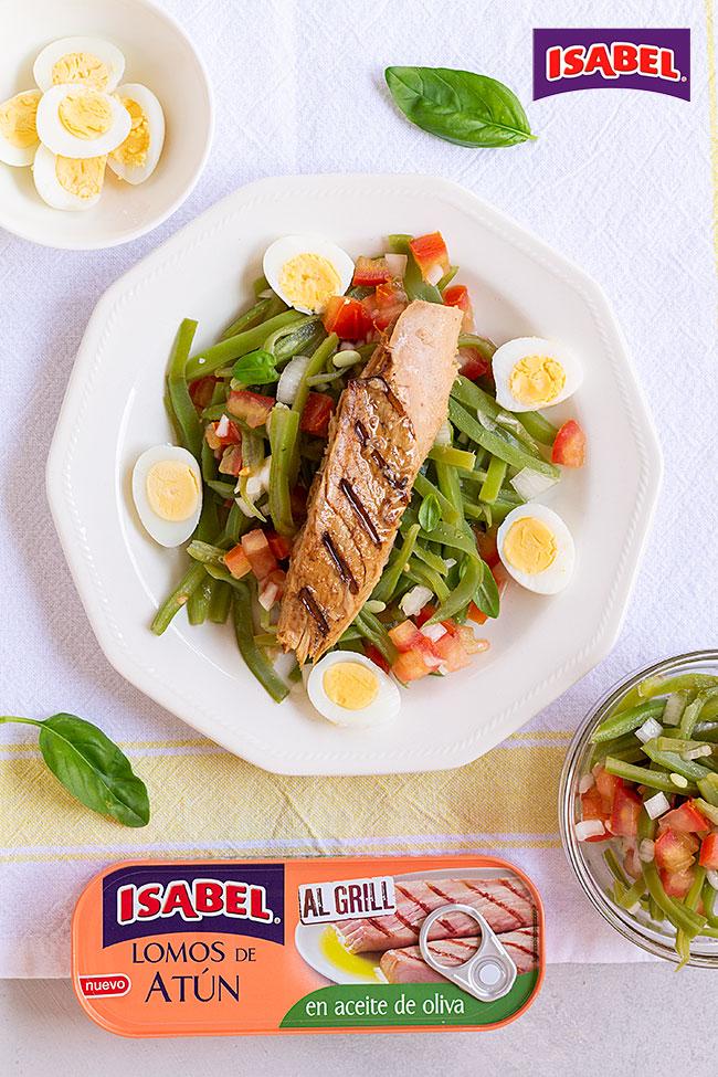 receta ensalada de judías verdes con atún al grill