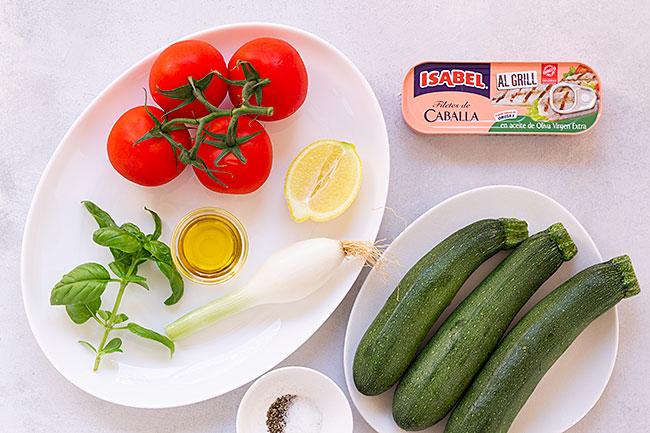 ingredientes caballa al grill con calabacín a la plancha