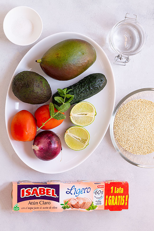 ingredientes ensalada de atún arcoíris con salsa de mango