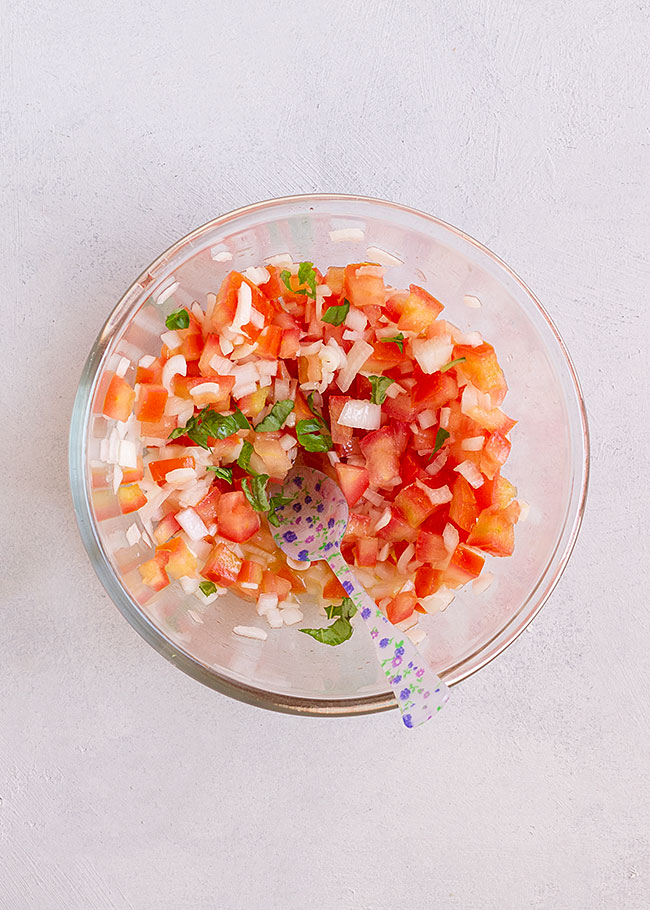 ingredientes ensalada de judías verdes, picados