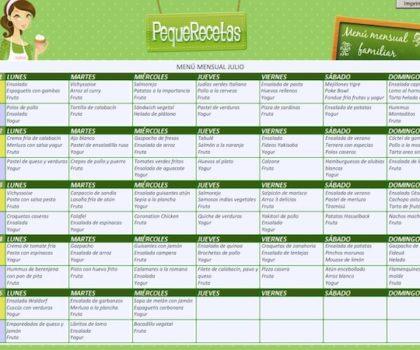 menu para la semana familiar