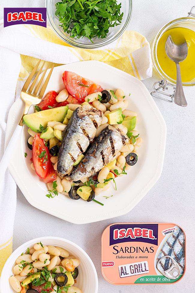 receta ensalada de alubias con sardinas al grill