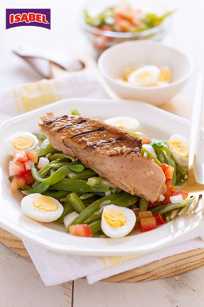 ensalada de judias verdes con atún al grill