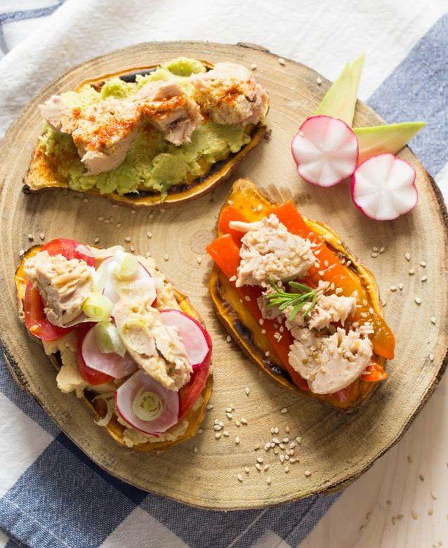 tostas de boniato con atun