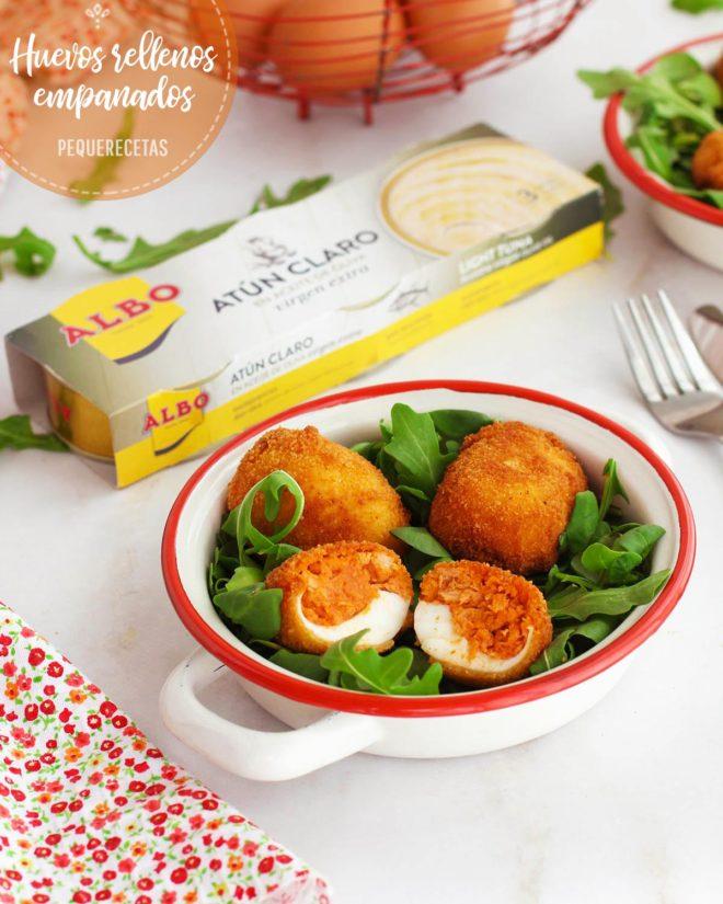 huevos empanados rellenos de atún