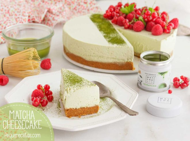 receta de cheesecake con té matcha