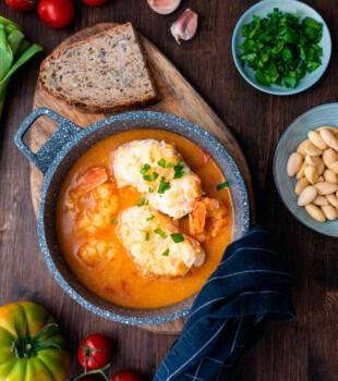 suquet de peix con rape y gambas receta