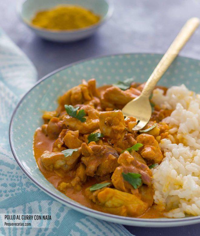como hacer pollo al curry con nata