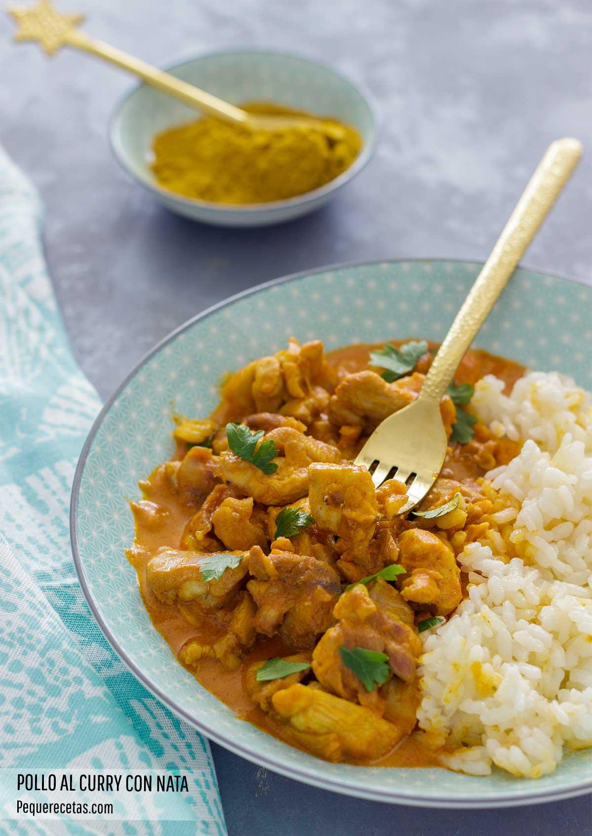 pollo al curry con nata receta facil